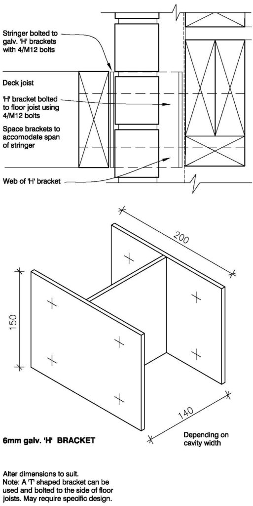 Clay Bricks – Deck Connection – Option 1: Using H Bracket