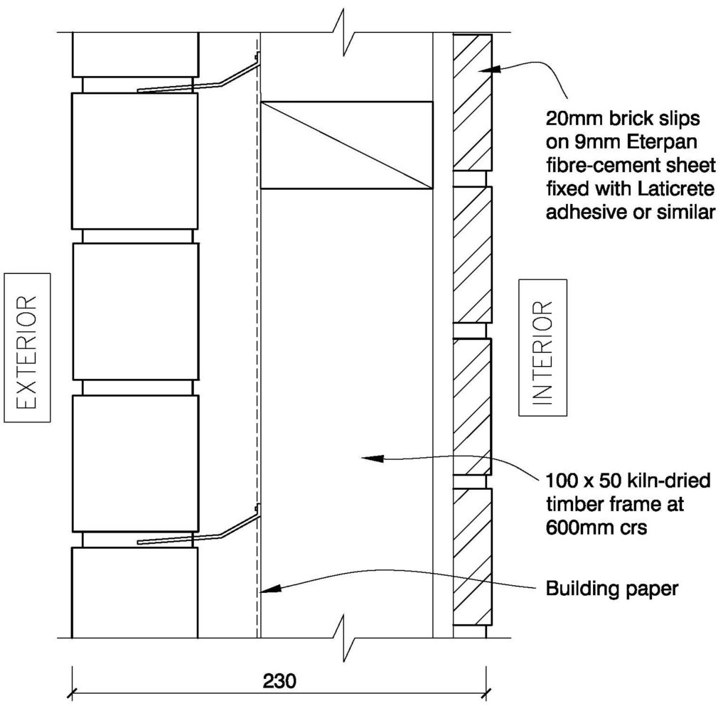 Clay Bricks – Double Sided Brick Option 1 External Walls Timber Floor