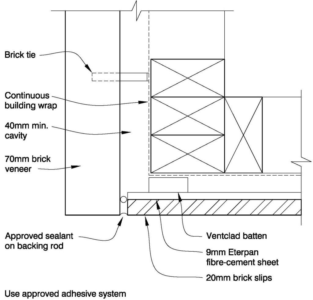 Clay Brick – Brick Slips Eterpan Corner Plan detail
