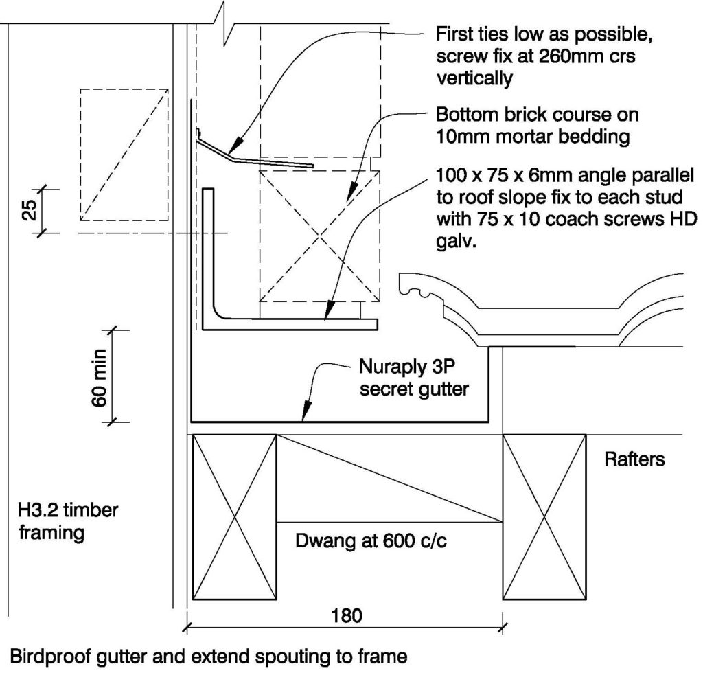 Clay Brick – Wall at side of roof slope Secret Gutter Option